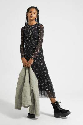 Urban Outfitters Floral Mesh Midi Dress - black XS at
