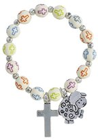 Confirmation Bracelets My First Reconciliation Silver Tone Cross and Lamb Religious Charm Bracelet, 6 Inch