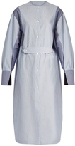 Joseph Eli slit-cuff striped cotton shirtdress