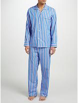 Derek Rose Stripe Woven Cotton Pyjamas, Blue/pink