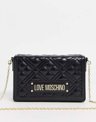 Love Moschino quilted cross body bag-Black