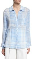 Diane von Furstenberg Carter Plaid Long-Sleeve Shirt, Blue
