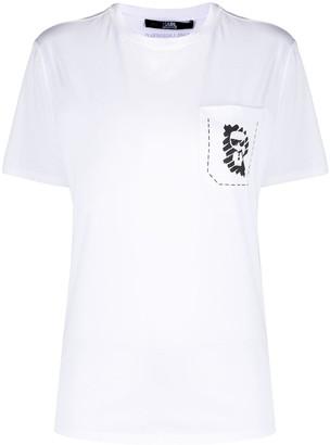 Karl Lagerfeld Paris logo print pocket T-shirt
