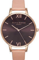 Olivia Burton OB15BD72 big dial stainless steel and leather watch
