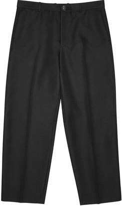 Balenciaga Black cropped twill trousers