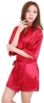 Honeystore Women's Short Lounge Kimono Robe Satin Bridesmaid Nightwear Silk Gown XL