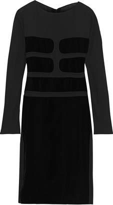 Tom Ford Paneled Crepe De Chine And Velvet Dress