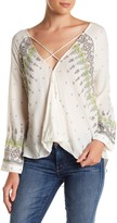 Gypsy 05 Gypsy05 Printed Long Sleeve Wrap Blouse