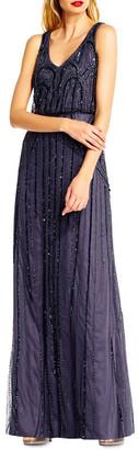 Adrianna Papell Blouson Beaded Art Nouveau Dress
