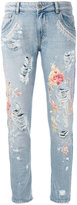 Amen floral embroidery jeans - women - Cotton - 42