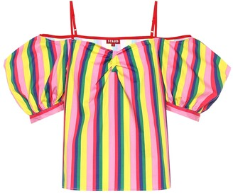 STAUD Ruby striped stretch cotton top
