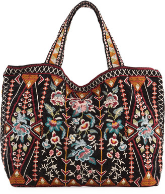 Johnny Was Leigh Embroidered Velveteen Tote Bag
