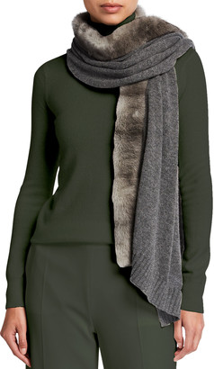 Agnona Eternal Cashmere Scarf with Mink Fur Trim