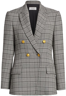 A.L.C. Sedgwick II Glen Check & Houndstooth Double-Breasted Jacket