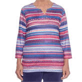 Alfred Dunner 3/4 Sleeve Split Crew Neck T-Shirt-Womens
