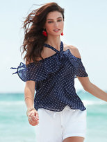 New York & Co. Sweet Pea - Cold-Shoulder Halter Blouse - Polka-Dot Print