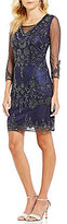 Pisarro Nights 3/4 Sleeve V-Neck Beaded Sheath Dress