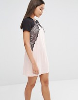 Lipsy Contrast Lace Detail Mini Dress