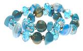 Murano LJ Accessories L&J Accessories Two Row Blue Shell Stretch Bracelets
