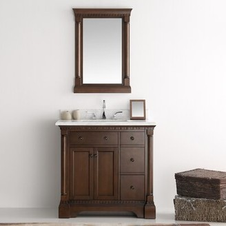 "Kingston 37"" Single Bathroom Vanity Set with Mirror Fresca Base Finish: Antique Coffee"