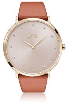 BOSS Slimline watch with sunray dial and brown leather strap
