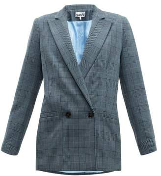 Ganni Prince Of Wales Check Double Breasted Blazer - Womens - Grey