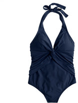 J.Crew Twist-front halter one-piece swimsuit