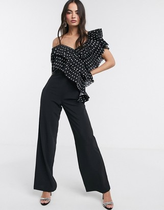 Forever U Collection ultimate ruffle jumpsuit with polkadot