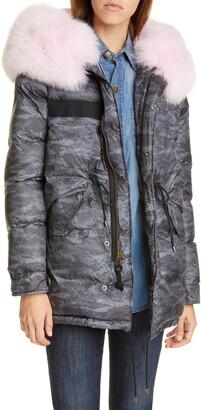 Mr & Mrs Italy Genuine Fox Fur Trim Down Fill Camouflage Puffer Coat