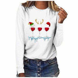 Beetlenew Christmas Tops Womens Long Sleeve O-Neck Wine Glass Print Pullover Novelty Funny Graphic T-Shirt Xmas Cap Pattern Tee Holiday Casual Sweatshirt Blouse for Teen Girls