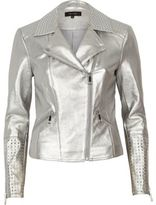 River Island Womens Silver faux leather studded biker jacket