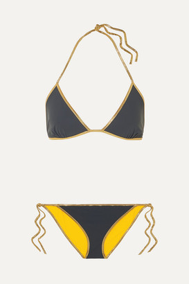Tooshie Hampton Reversible Lurex-trimmed Triangle Bikini - Bright yellow
