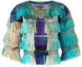 Alberta Ferretti degradé fringed cropped jacket - women - Silk/Polyester - 40