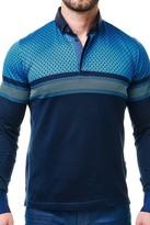 Maceoo Printed Colorblock Long Sleeve Polo Shirt