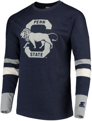 Men's Starter Navy/Gray Penn State Nittany Lions Old School Football Long Sleeve T-Shirt