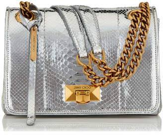 Jimmy Choo HELIA SHOULDER/S Silver Metallic Python Shoulder Bag with Silver Chain Strap