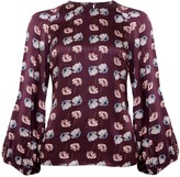 Phoebe Grace Georgie Balloon Sleeve Top in Burgundy Poppy Print