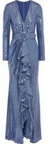Badgley Mischka Belted Ruffled Sequined Metallic Jersey Gown