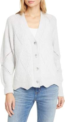 Rebecca Taylor Basket Weave Ribbed Pointelle Knit Cardigan