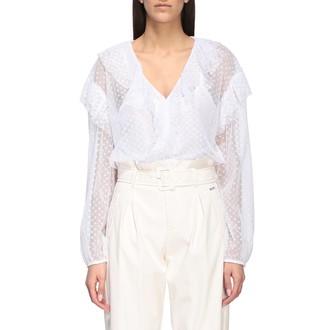 Liu Jo V-neck Shirt With Rouches In Sheer Polka Dot Fabric