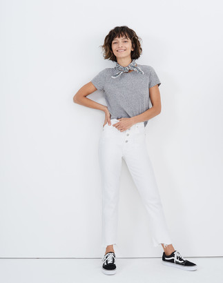 Madewell The Petite Perfect Vintage Crop Jean in Tile White: Button-Front Edition