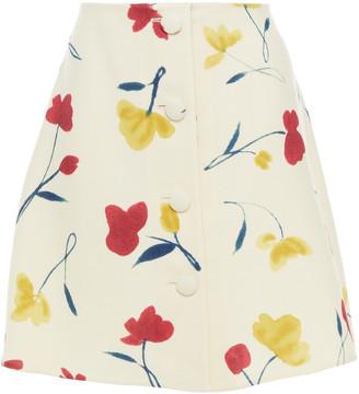 Oscar de la Renta Button-embellished Floral-print Wool-twill Mini Skirt