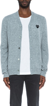 Comme des Garcons Lambswool Cardigan with Black Emblem in Light Grey | FWRD