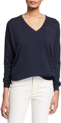 Brunello Cucinelli V-Neck Long-Sleeve Cashmere Sweater w/ Monili Trim
