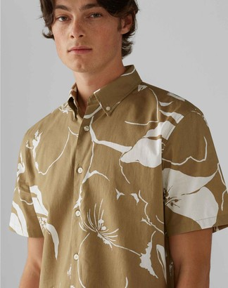Club Monaco Short Sleeve Floral Wave Shirt
