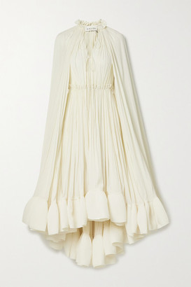 Lanvin Cape-effect Tie-detailed Ruffled Crepe Dress - Ivory