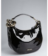 Jimmy Choo black patent leather and snake embossed 'Solar' large hobo