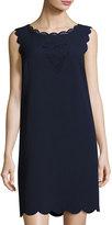 Donna Ricco Laser-Cut Scalloped Shift Dress