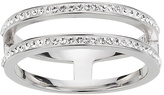 Evoke Rhodium Plated Sterling Silver Double Band Ring
