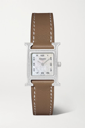 HERMÈS TIMEPIECES Heure H 21mm Small Stainless Steel, Leather, Diamond And Mother-of-pearl Watch - Taupe